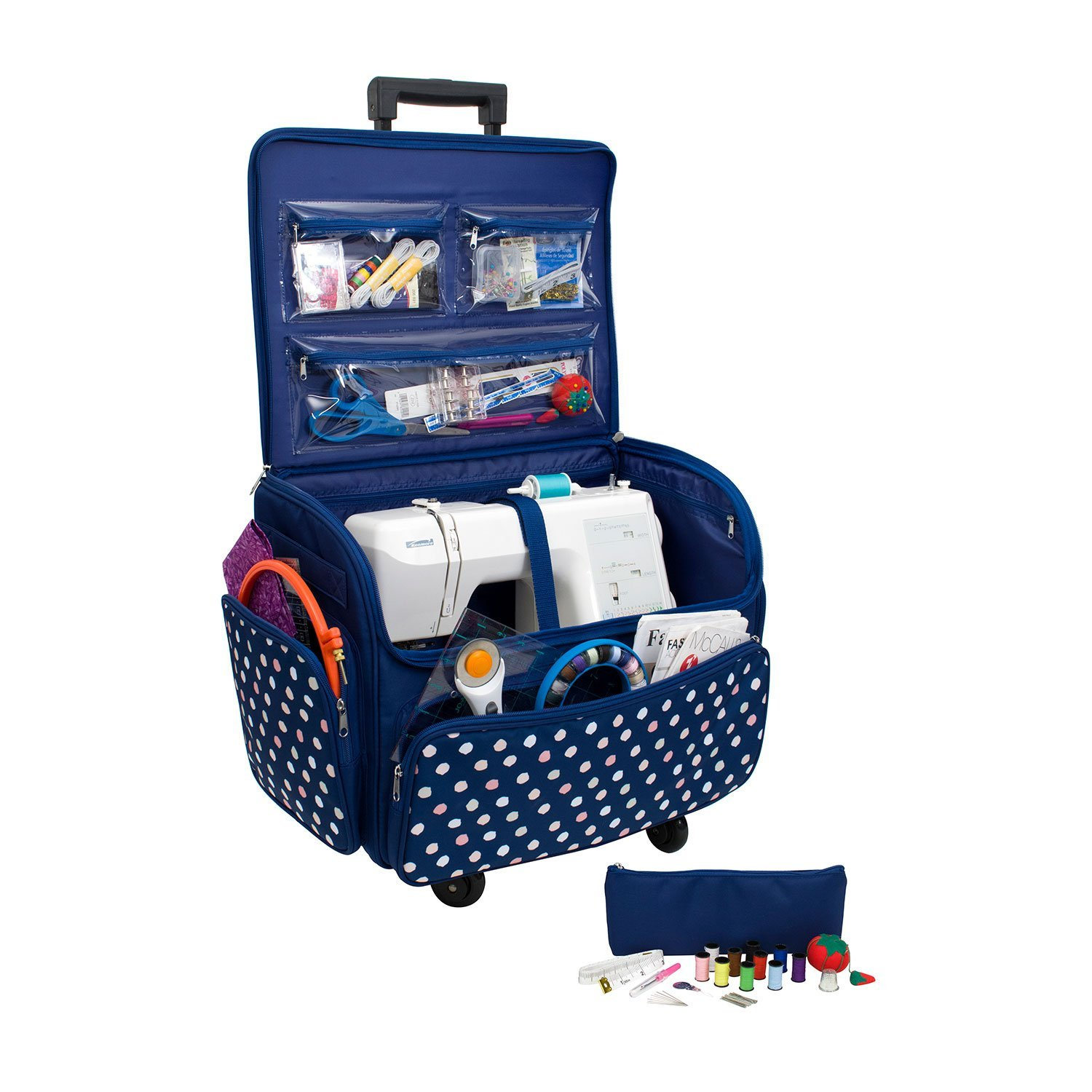 Everything Mary EVM10971-5 Quad Rolling Sewing Machine Case, Navy Blue