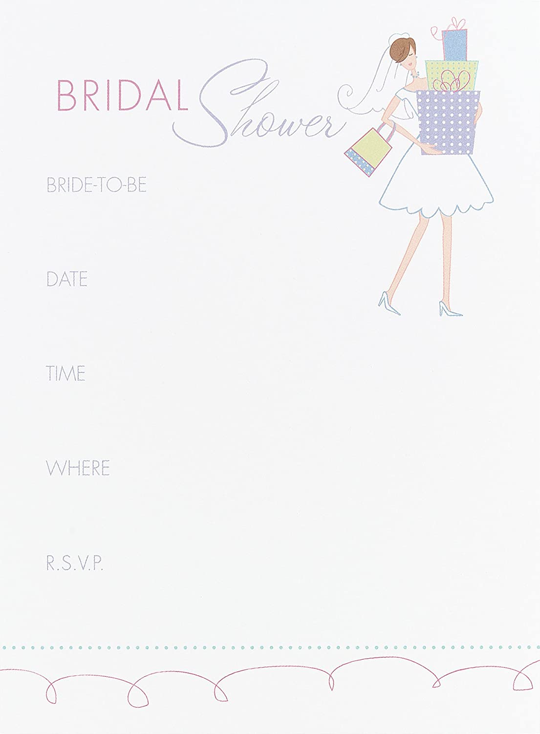 Amazon Hortense B Hewitt Wedding Accessories Bridal Shower Invitations Pack Of 25 Home Kitchen