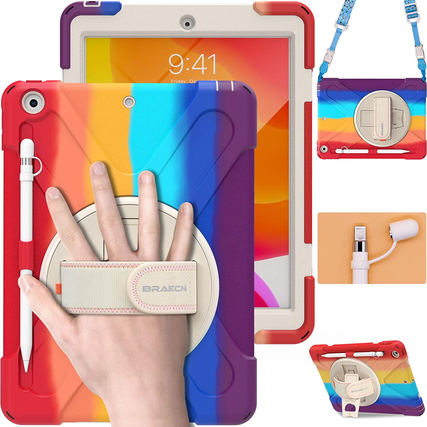BRAECN iPad 8th / 7th Generation Case, Heavy Duty Rugged Case with Screen Protector, Pencil Holder, Pencil Cap Holder, Hand Strap, Kickstand, Shoulder Strap for Apple iPad 10.2 Inch 2020/2019-Rainbow
