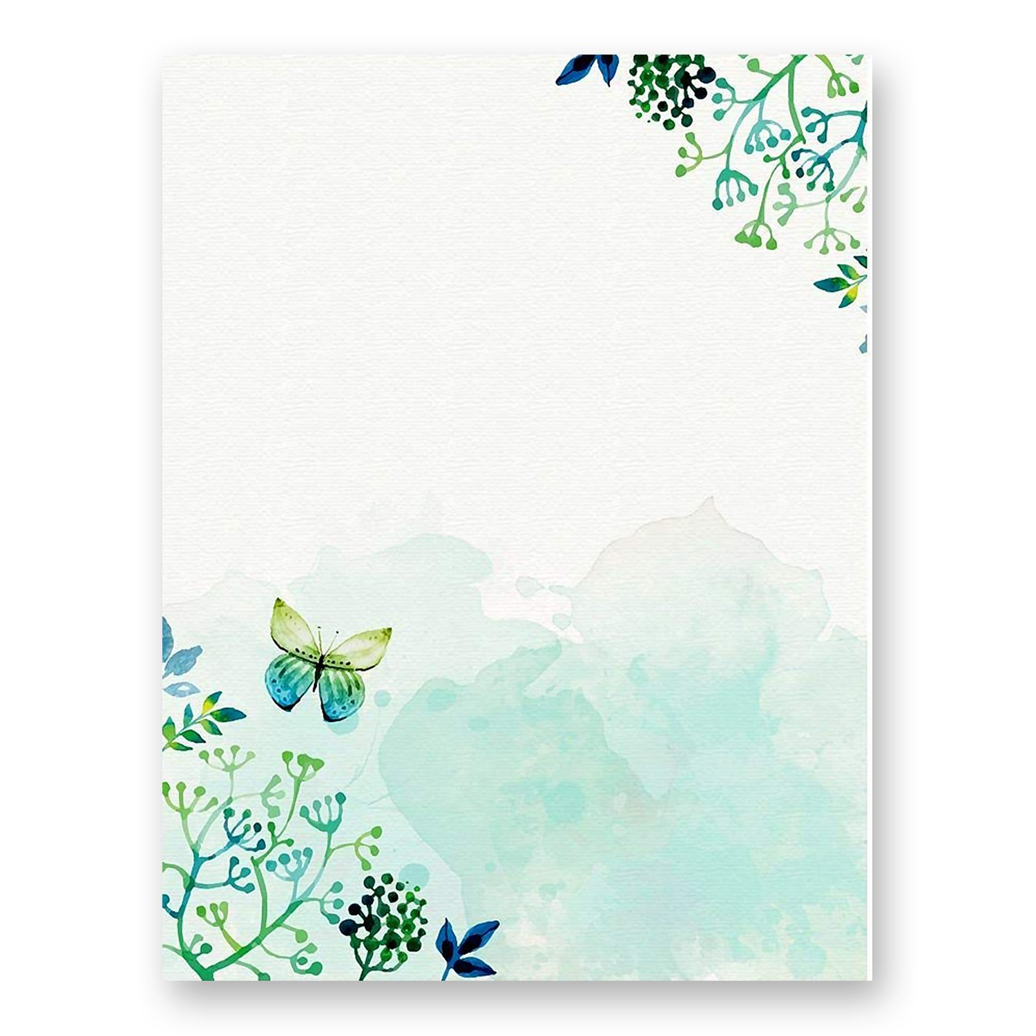 100 Stationery Paper - Cute Floral Designs for Writing Letters, Notes, and Invitations - Perfect for Bridal Shower, Birthdays, Engagement Party, Anniversary, Wedding, VIP and Other Occasions - Seaweed
