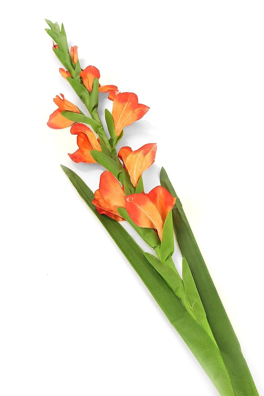 Floral Elegance Artificial 118cm Single Stem Orange Gladiolus Flower