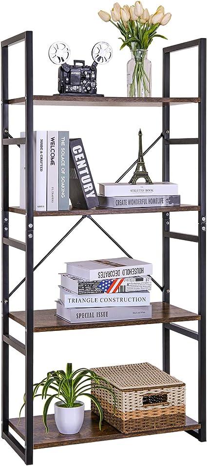 Estantería Vintage 4 Escalera,Librería Estantería Cubo de Almacenamiento,Diseño Retro Multifuncional,para Oficina y Hogar,Color de Madera y ...