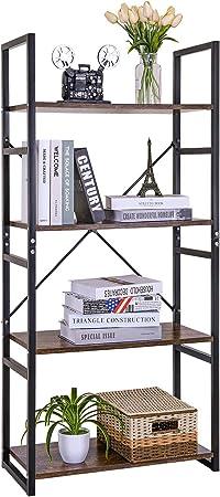 Estantería Vintage 4 Escalera,Librería Estantería Cubo de Almacenamiento,Diseño Retro Multifuncional,para Oficina y Hogar,Color de Madera y Negro,60x28x116cm: Amazon.es: Hogar
