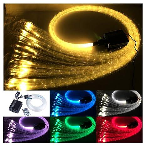 16W luz de fibra óptica remota RGBW 300pcs 1.0mm punto de inflamación 3m kit de luz sensorial cascada