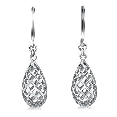 14 ct 585 White Gold Filigree Puffed Check Teardrop Drop Hook Earrings, Women Jewellery Anniversary Wedding Gift
