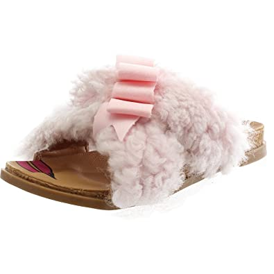 b8282aea9f1 Amazon.com | UGG Staceee Seashell Pink Sheepskin Youth Flat Sandals ...