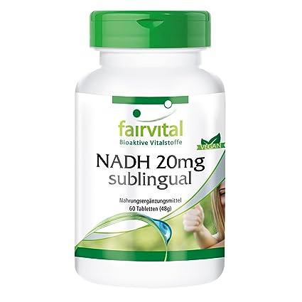 NADH 20 mg sublingual - durante 2 meses - VEGANO - 60 comprimidos - estabilizado NADH