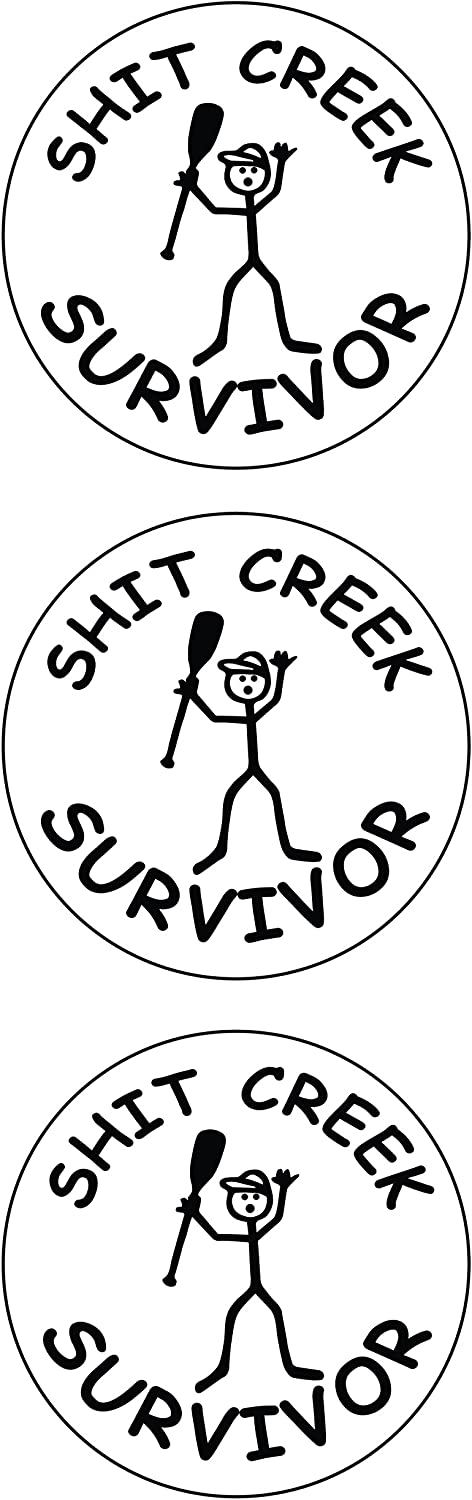 "(3 Pack) Sht Creek Survivor Circle Vinyl Hard Hat Helmet Decal - Size: 2"" Round Color: White/Black - Hard Hat, Helmet, Windows, Walls, Bumpers, Laptop, Lockers, Etc."