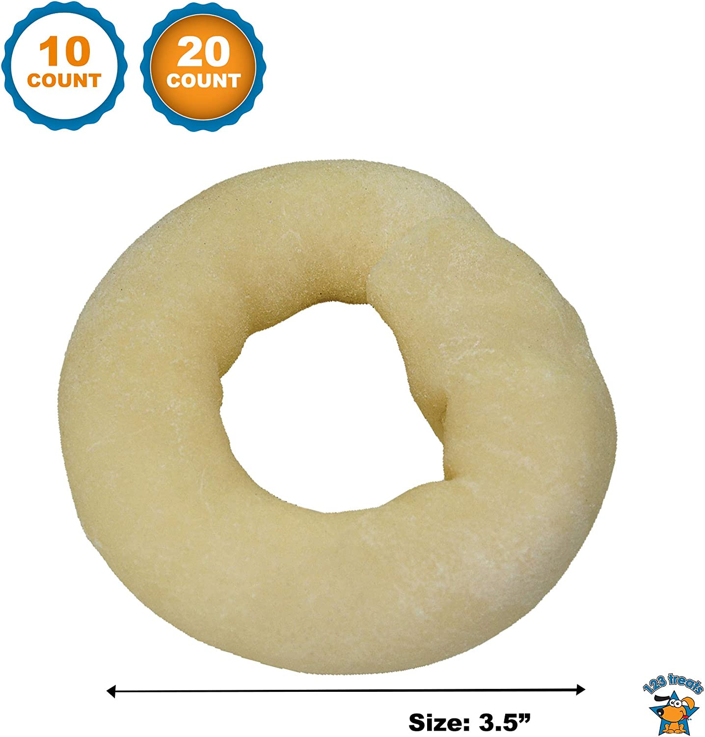 123 Treats Rawhide Donuts Chews for Dogs 3.5 inches – Beefhide Donut chew for Pets Packed in The USA