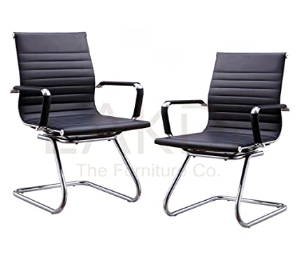 Lakdi-The Furniture Co. Stainless Steel Low Back Office Chair (Black) - Set of 2 Combo