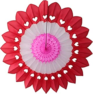 product image for 3-Pack 27 Inch Extra-Large Honeycomb Tissue Paper Party Fanburst Decoration in Seasonal Themes (Valentine Heart - Red/White/Pink)