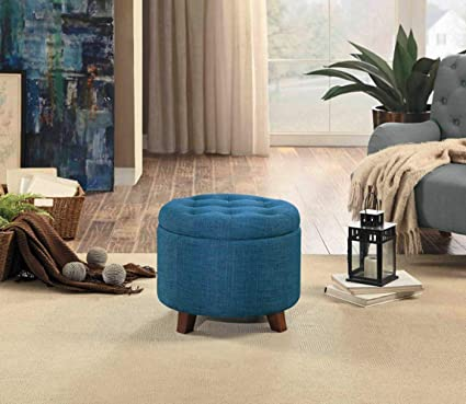 Pleasant Amazon Com Modern Tufted Ottoman With Storage Blue Color Squirreltailoven Fun Painted Chair Ideas Images Squirreltailovenorg