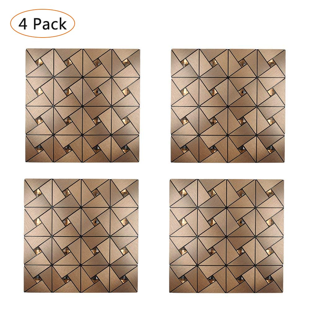 Y-step Pack of 4 Self Adhesive Aluminium Plastic Composite Wall Sticker Metal Surface Home Kitchen Bathroom TV Background Decoration 11.8 x 11.8 inch