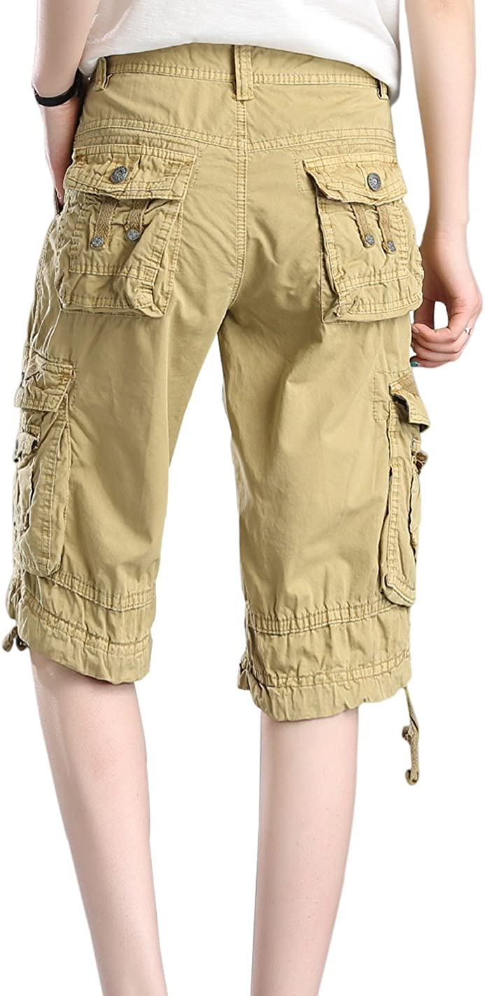 HOWON Womens Casual Loose Fit Twill Bermuda Cargo Shorts Multi Pocket Straight Shorts