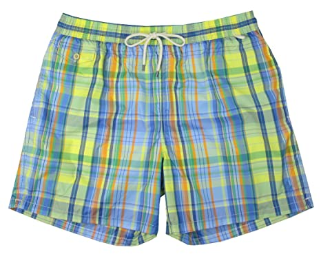 "4183ee1ffc Polo Ralph Lauren Men's 5¾"" Plaid Swim Trunks, Hampton Yellow ..."