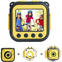 [Upgraded] Prograce Kids Camera Waterproof Action Video Digital Camera 1080 HD Camcorder for Boys Girls Toys Gifts Build-in Game(Yellow)