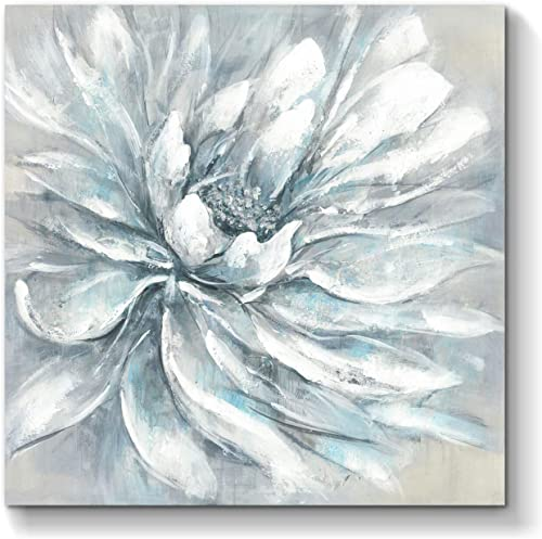 Flower Bloom Abstract Wall Art Floral Artwork Hand Painted Painting on Wrapped Canvas for Living Room 24 x 24 x 1 Panel