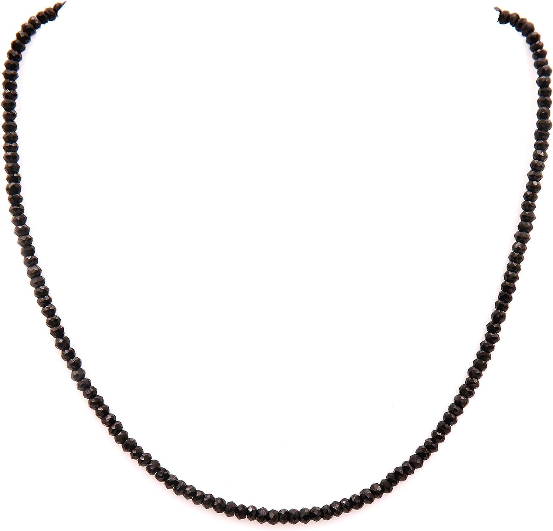Collar de cuentas de espinela negra, collar de espinela negra, collar de plata de ley, espinela negra, cadena de espinela negra para su esposa y madre joyería espinela negra