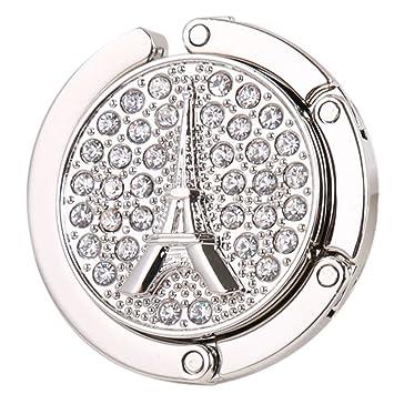 Accroche-sac Crochet Porte Sac à Main en Strass Motif de Tour Eiffel - Rouge zQYSH4cxLU