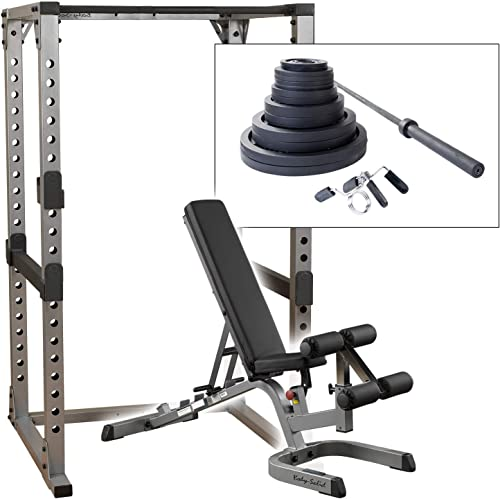 Body Solid GPR378 Power Rack with Heavy GFID71 Bench, 300lb. Weight Set