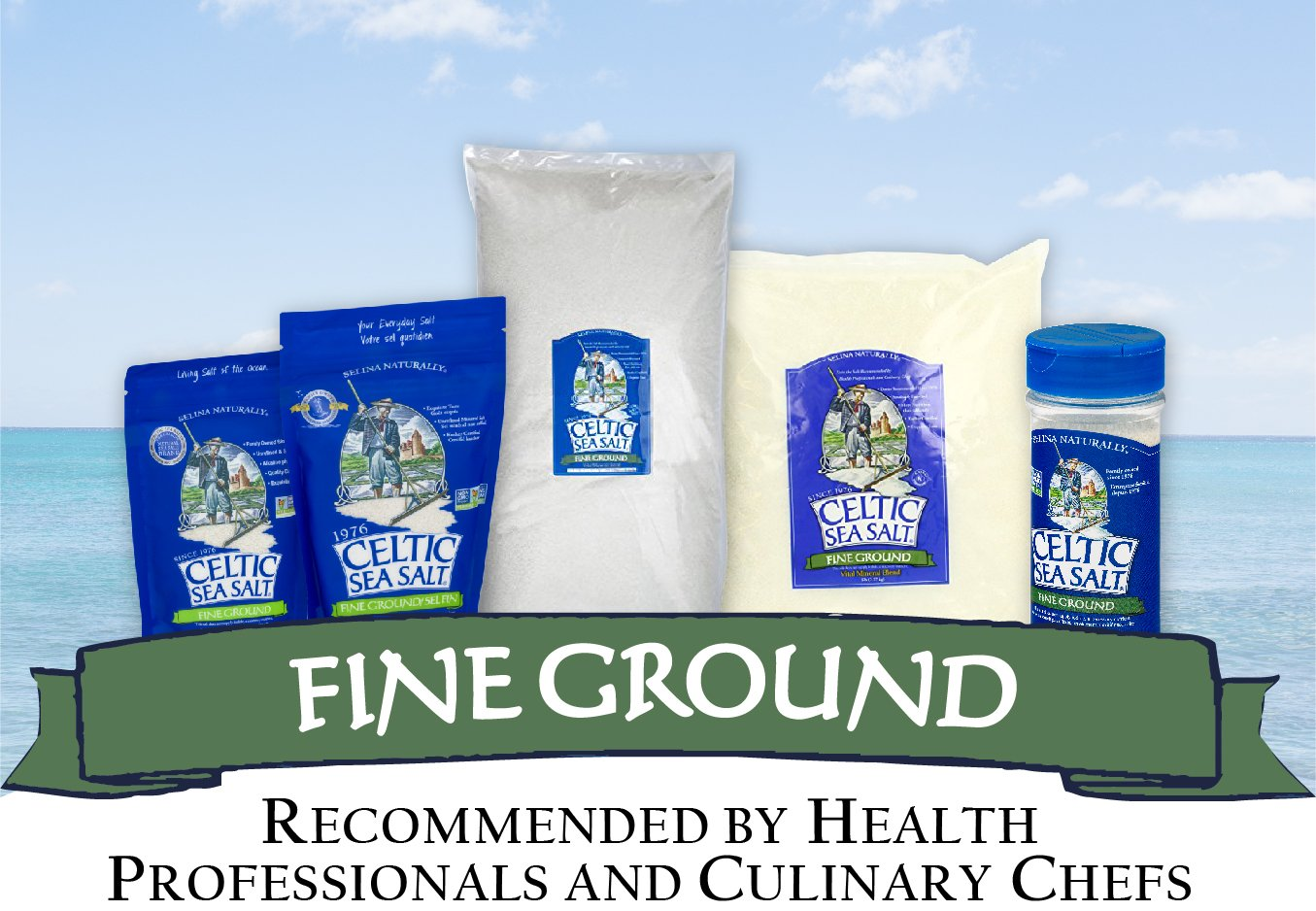 Fine Ground Celtic Sea Salt – (1) 16 Ounce Resealable Bag of Nutritious, Classic Sea Salt, Great for Cooking, Baking, Pickling, Finishing and More, Pantry-Friendly, Gluten-Free : Grocery & Gourmet Food