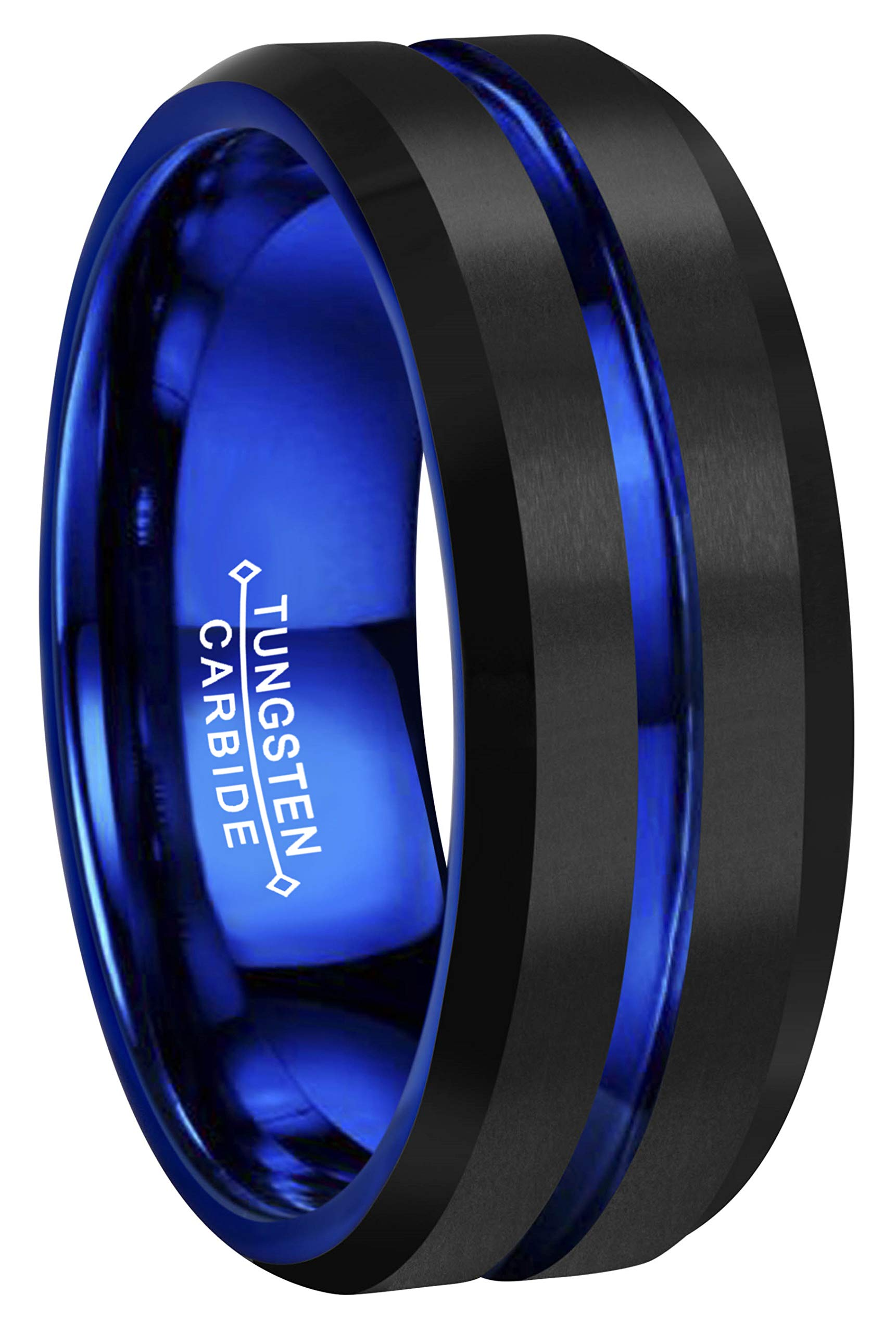 RoyalKay 8mm Black Blue Tungsten Wedding Band Ring Men Women Blue Groove Matte Finish Comfort Fit Size 6 to 17 (8mm,8.5)