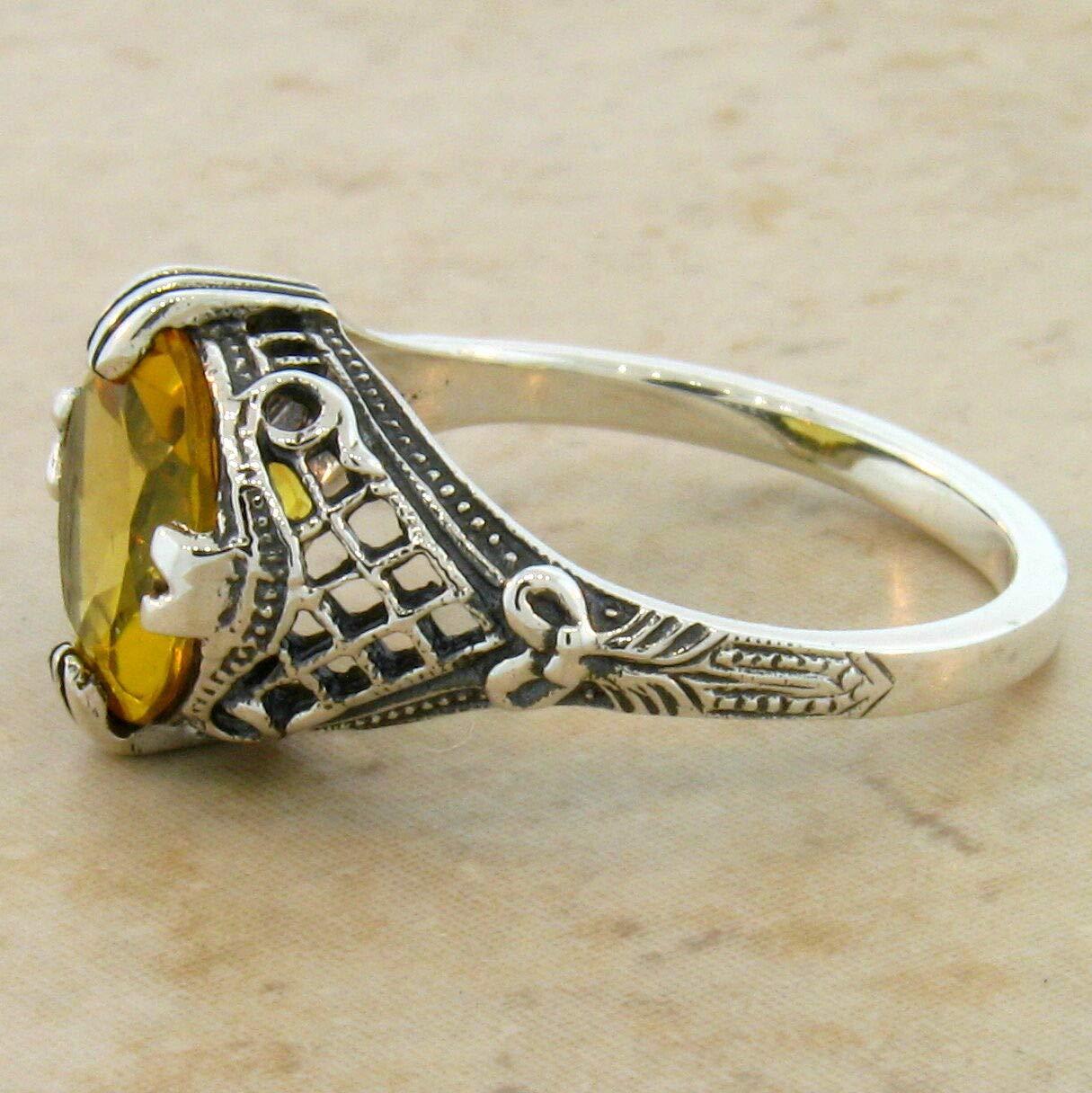 LAB Citrine Antique Filigree Design 925 Silver Ring Size 6.75 KN-4217 3.5 CT
