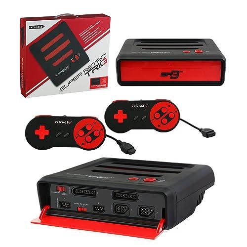 Retro Bit Super Retro Trio 3 in 1 Console Red/Black, NES/SNES/Mega Drive PAL Version (Electronic Games)