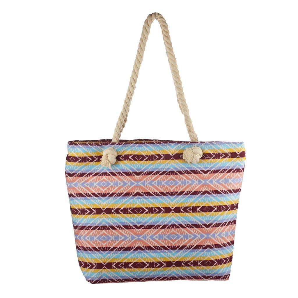 Lux Accessories Lux Accessories Womens Zip Up Beach Bag Blush