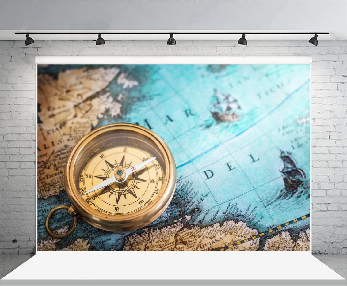 8x12 FT Compass Vinyl Photography Backdrop,Vintage Windrose on Dark Color Adventure Discovery Themed Classical Icon Background for Baby Birthday Party Wedding Graduation Home Decoration