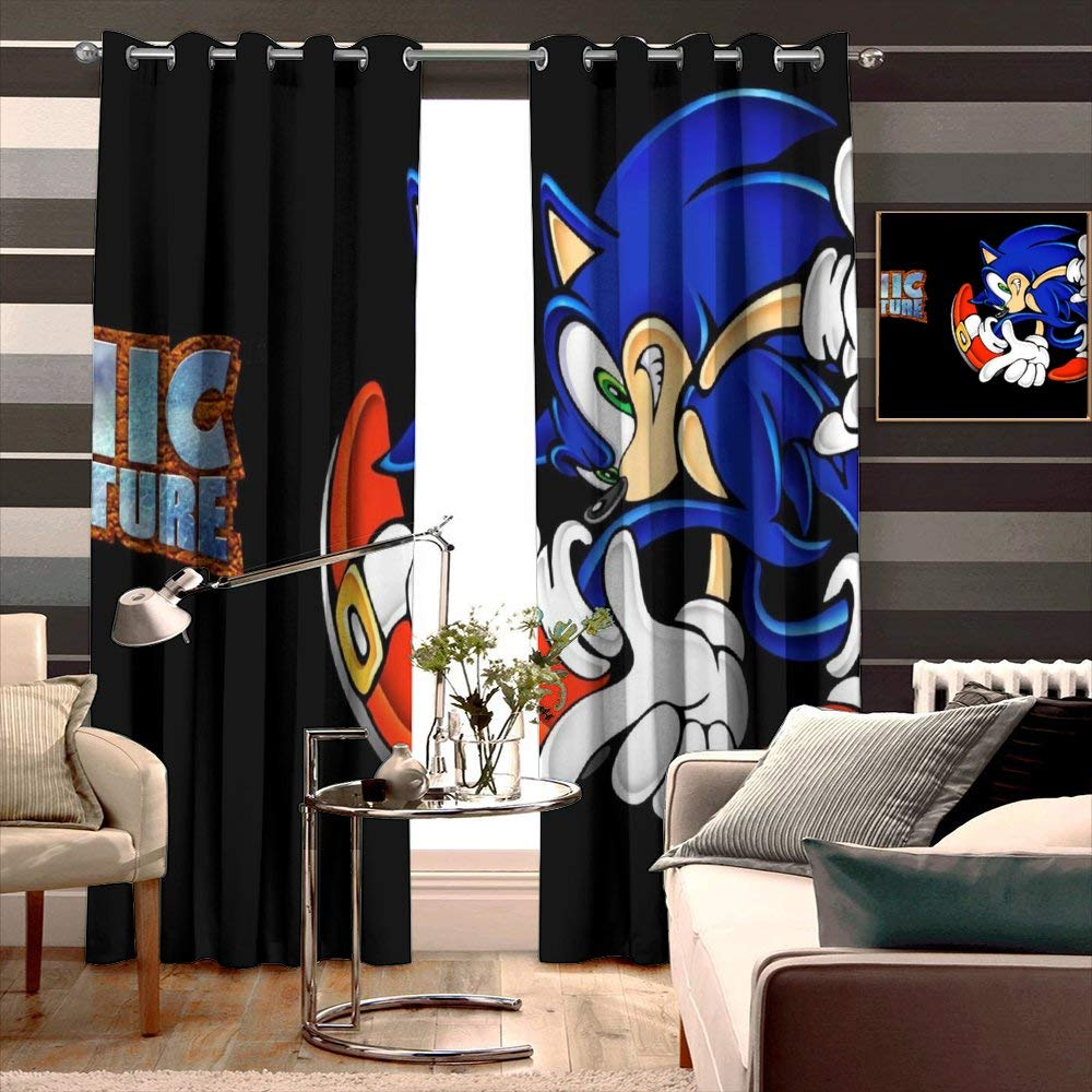 Print Drapes for Living Room Animated Cartoon Animation Cartoon Clip Art Fiction Fictional Character Font Graphic Design Sonic Th Kids Room Curtain Width 160cm x HIGH 183cm