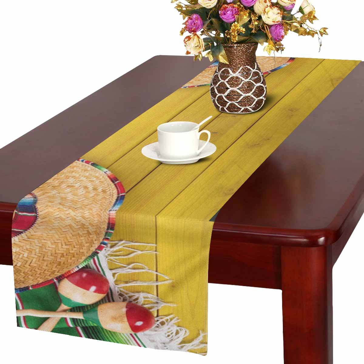 InterestPrint Funny Mexican Artwork Sombrero Hat Blanket on Wood Table Runner Cotton Linen Home Decor for Wedding Party Banquet Decoration 16 x 72 Inches