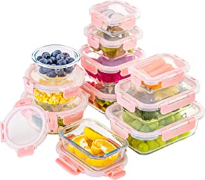 22-Piece Glass Food Storage Containers with Lids, Glass Meal Prep Containers with Hinged Locking lids, BPA Free & Leak Proof (11 lids & 11 Containers)