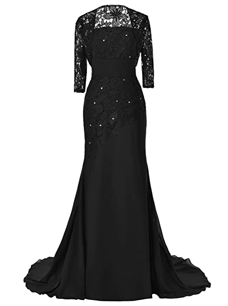 Pretygirl Womens Lace Long Mother Of The Bride Dress With Jacket Formal Evening Gowns