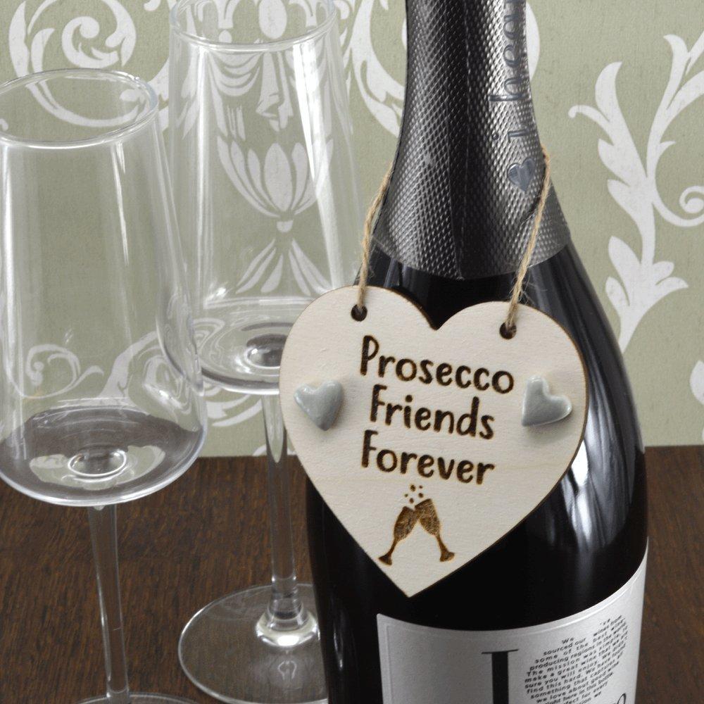 Amigos para siempre Prosecco hecha a mano botella de vino encanto + 2 cristal charms etiqueta regalo recuerdo de señal: Amazon.es: Hogar