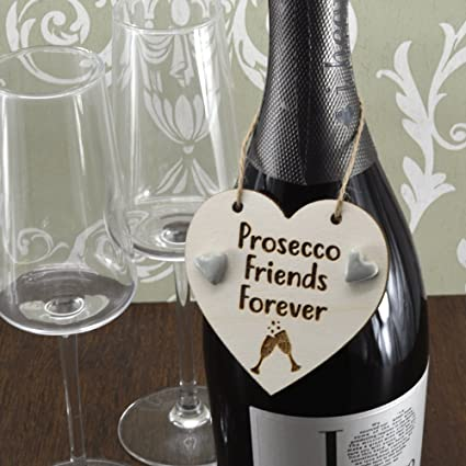 Amigos para siempre Prosecco hecha a mano botella de vino encanto etiqueta regalo Sign