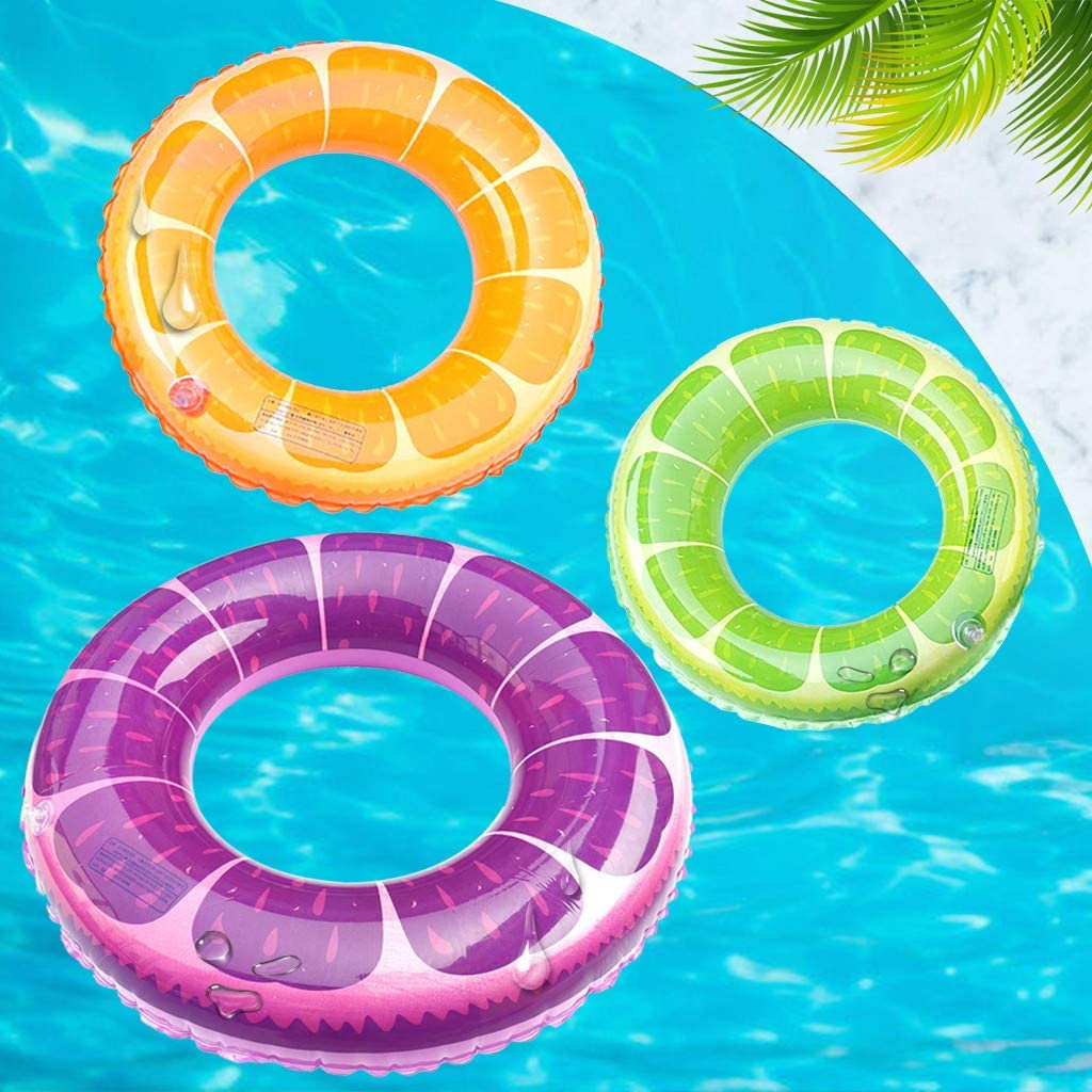Summer Fruit Print Pool Float Beach Swimming Toy Rubber Ring for Holiday Inflatable Kids//Adult Swimming Ring 90#, Green