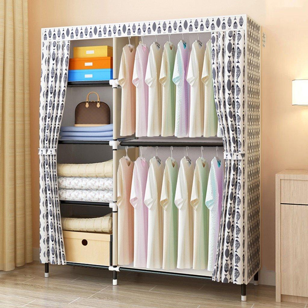MMM Armario Armario Armario Simple Moderno económico Cuarto de habitación Dormitorio Armario de Acero Marco de Montaje Armario Doble (Color : 2) dfb50c