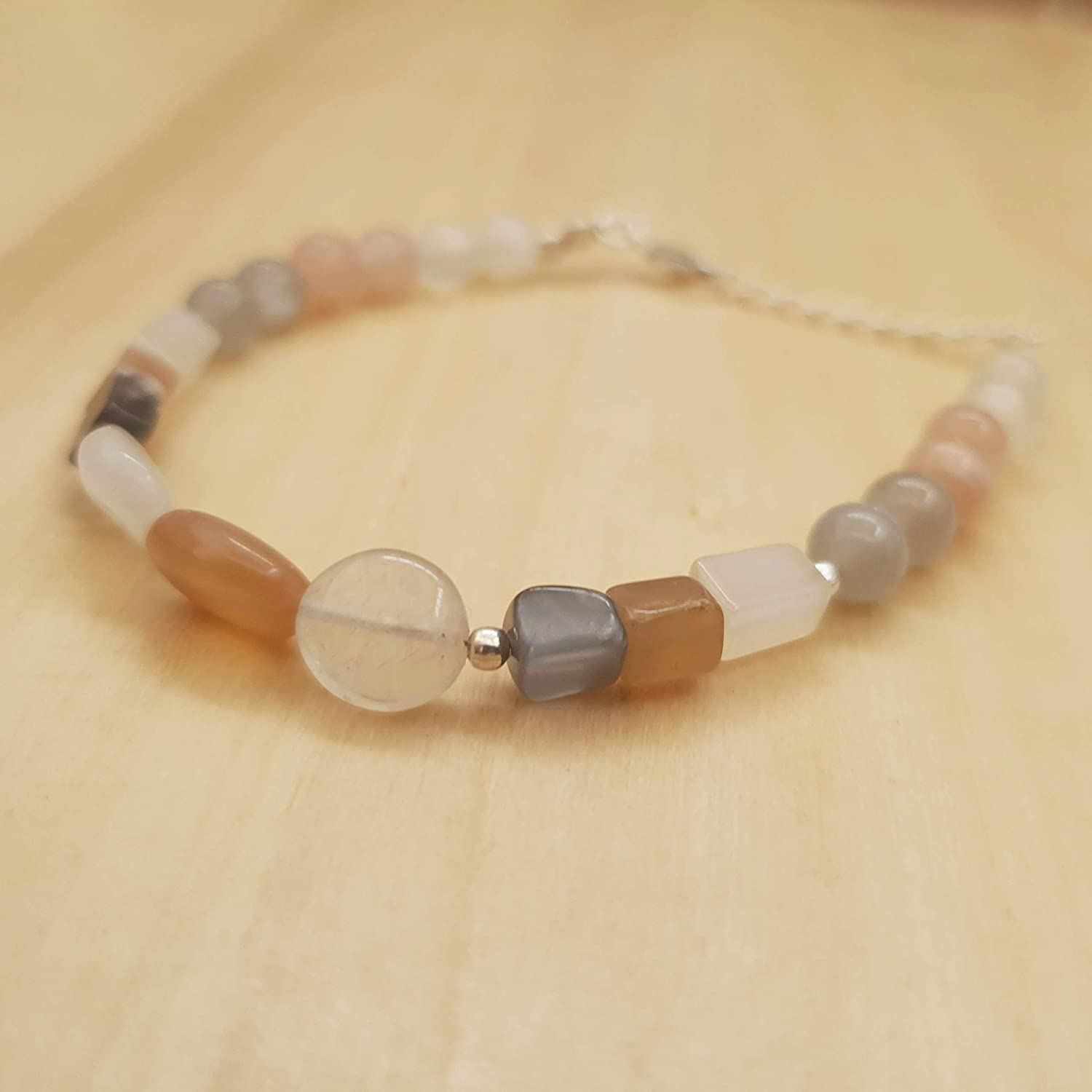White Grey Peach Moonstone Bar Beads Bracelet Sterling Silver June Birthday Jewelry Gifts for women