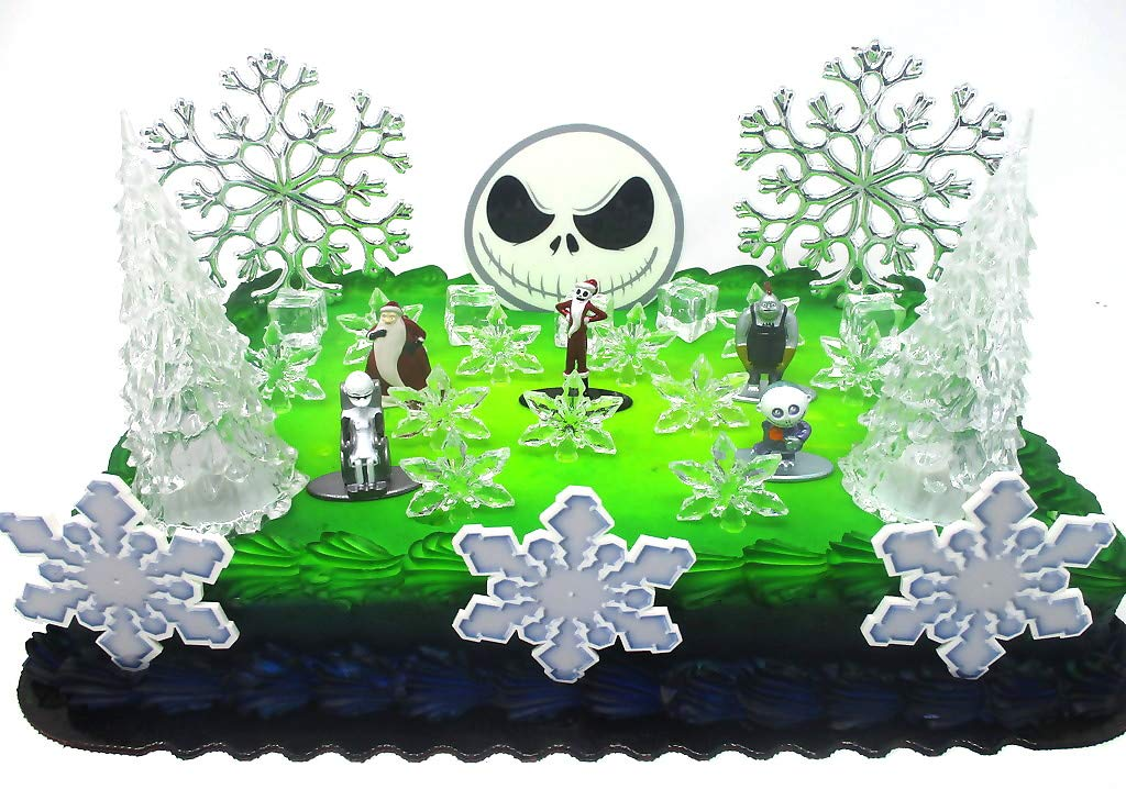 Nightmare Before Christmas Winter Wonderland Themed Birthday Cake Topper Set with Jack Skellington and Decorative Themed Accessories