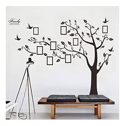 5d35304e85db Lisdripe X-Large DIY Family Tree Wall Art Stickers Removable Vinyl Black  Trees Photo Frames