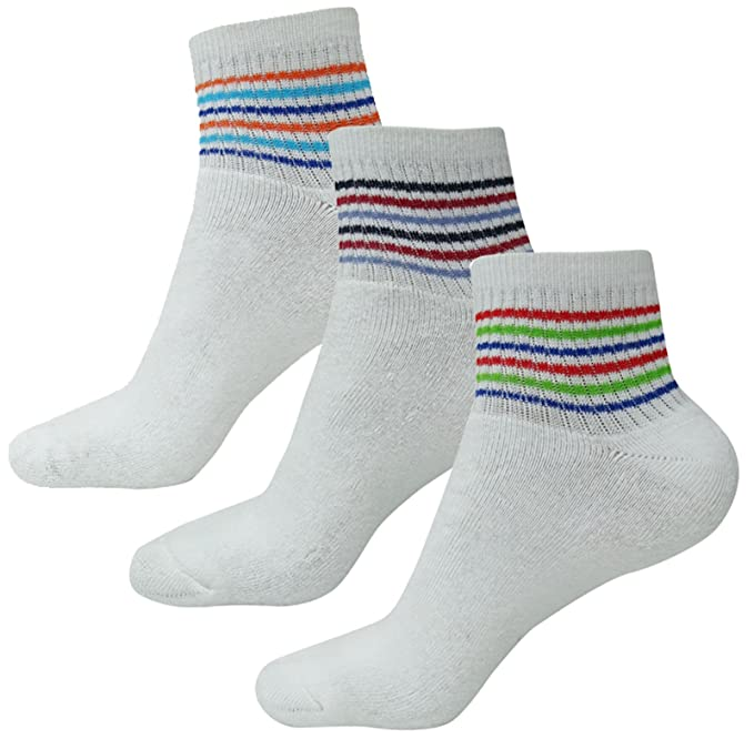 LOKI Paquete de Deportes Calcetines blancos Tamaño 3 Longitud Par del spandex de algodón del tobillo