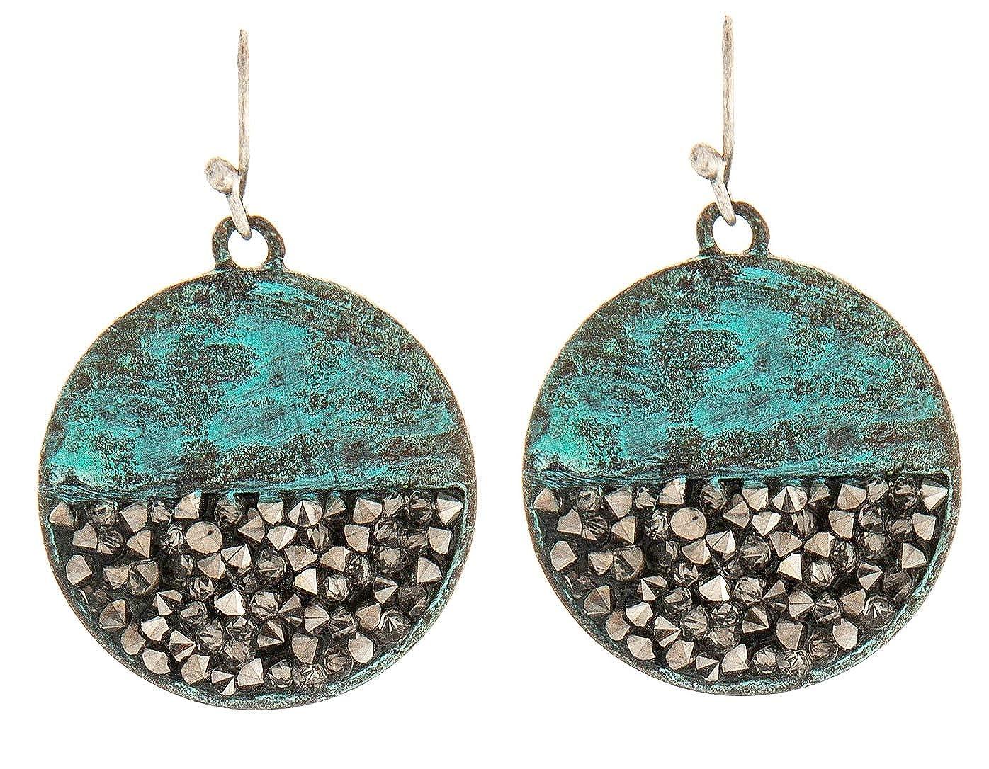 Circular Patina Dangle Earrings with Grey Stones