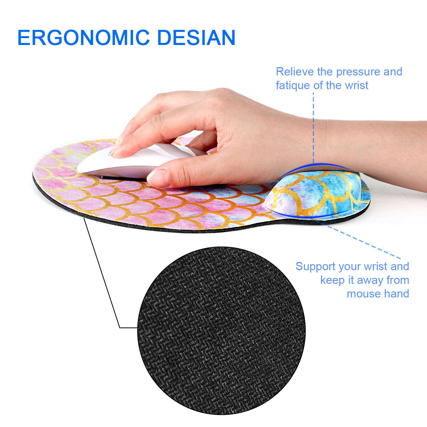 Mosaic Mermaid Scale WIRESTER Keyboard Wrist Rest Pad with Mouse Wrist Rest for Home and Office