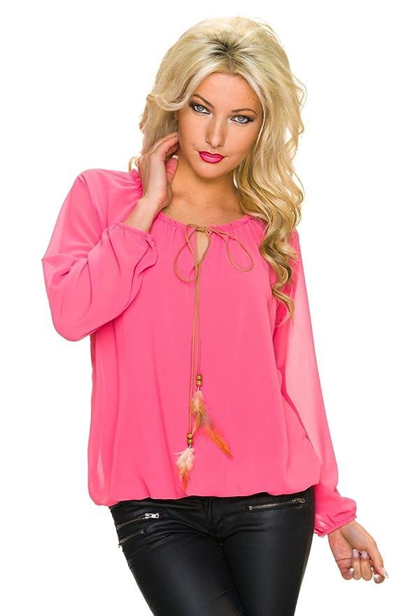 Fashion Mujer crepé Blusa Camisa túnica Camiseta con bolas de madera y plumas, varios colores coral 38: Amazon.es: Ropa y accesorios