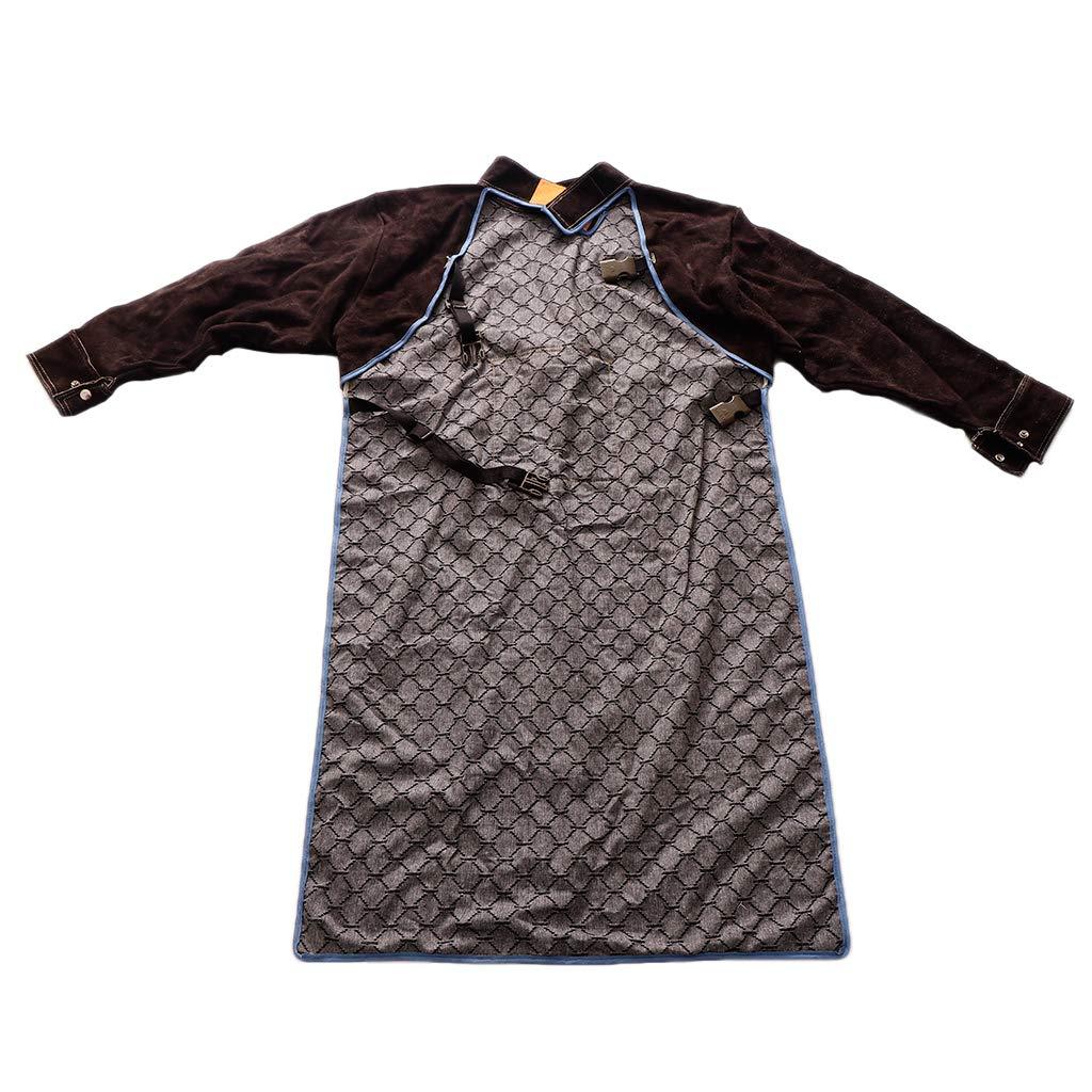 Baosity Heavy Duty Leather Welding Coat Work Apron XXL+ 1Pair Welding Foot Covers - Heat Resistant & Flame Resistant BBQ Apron, Adjustable, Brown by Baosity (Image #3)