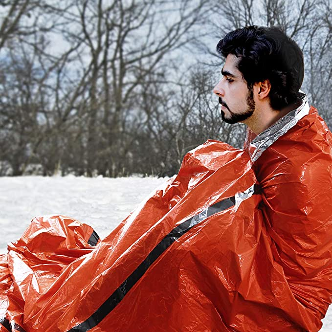 Emergency Sleeping Bag, Idealhouse Mylar Thermal Reflective Camping Survival Bivy Sack, Compact Body Heat Retention Camping Sleeping bags, Orange