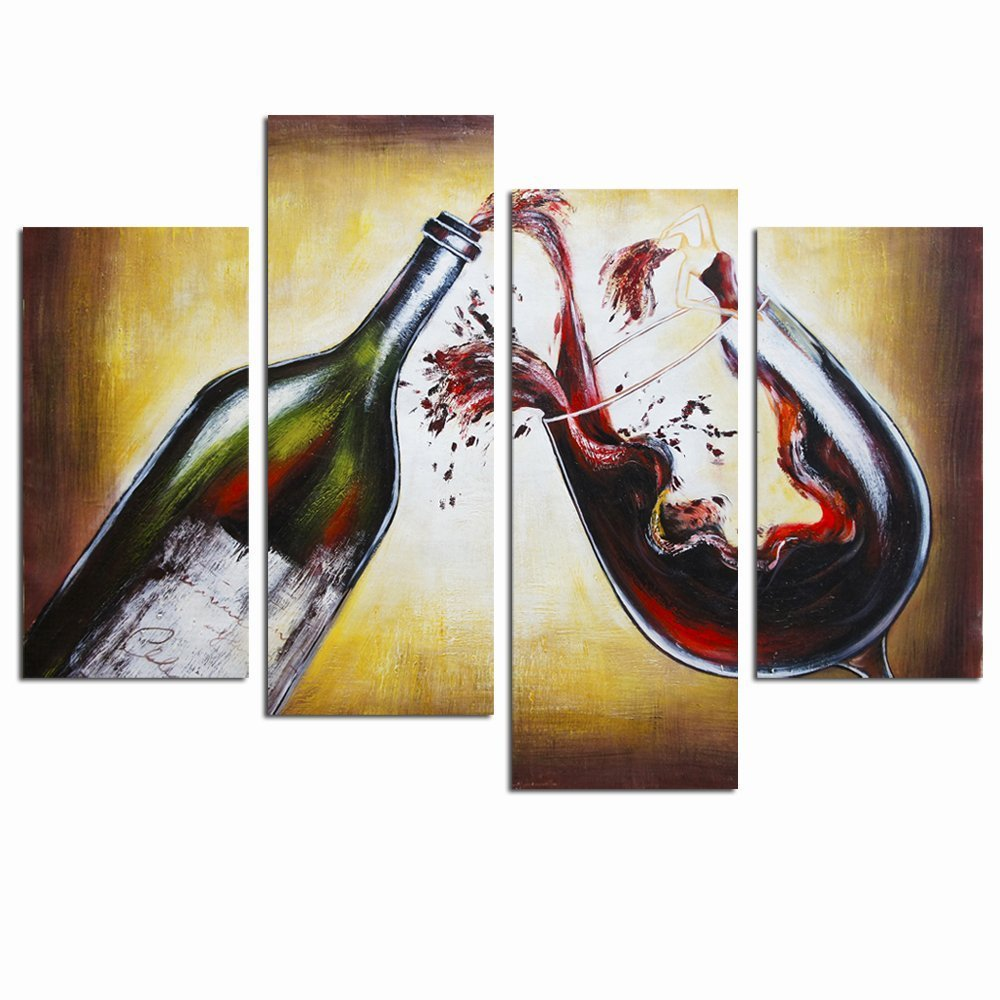 Sea Charm- 4 Panels Wall Art Red Wine Canvas Painting Picture Print on Canvas Abstract Girl in Wine Dress Giclee Artwork Framed and Ready to Hang