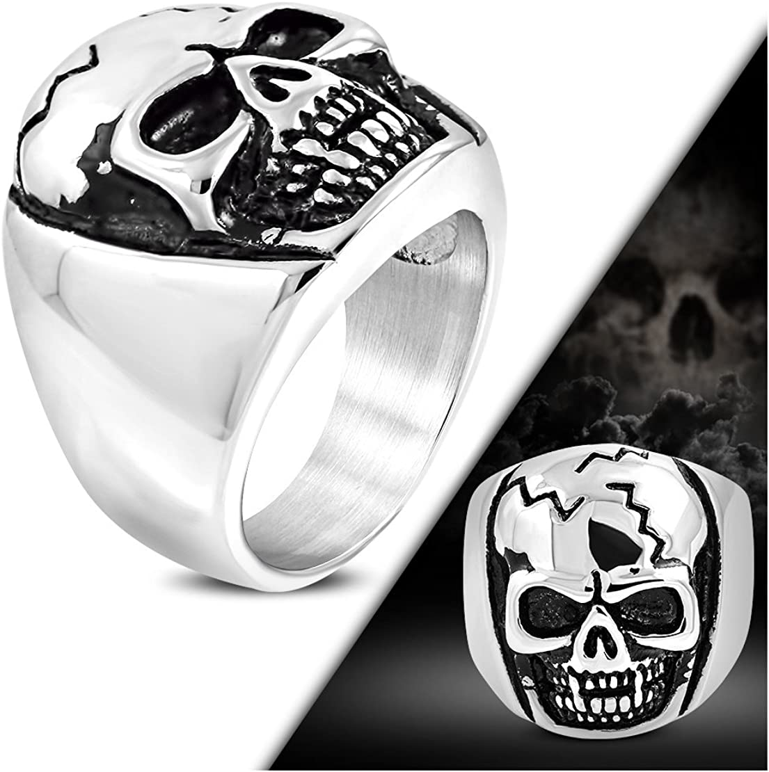 Stainless Steel 2 Color Cracked Skull Head Biker Ring