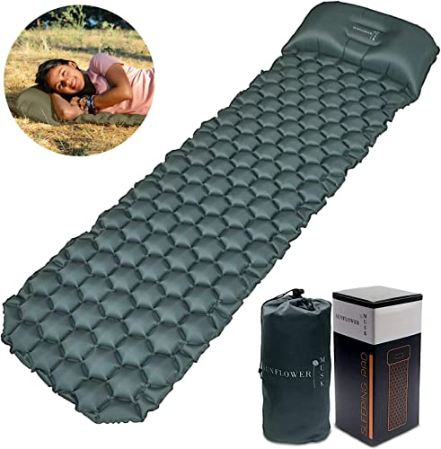 Sunflower Musk Inflatable Sleeping Pad w Adjustable Pillow – Camping Sleeping pad Long – Ultralight Camp Pad for Backpacking – Hiking Sleep mat
